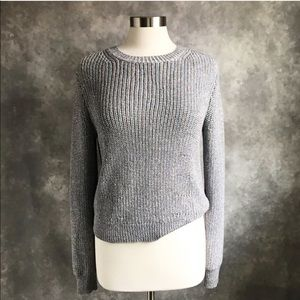 J. Crew Metallic Ribbed Shimmer Silver Sweater M